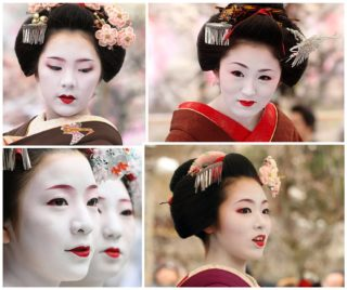 inspiration board for geisha hair and makeup
